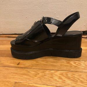 7ebe06309d1b All Saints Shoes - ALLSAINTS Black Gino Leather Platform Wedge Sandal